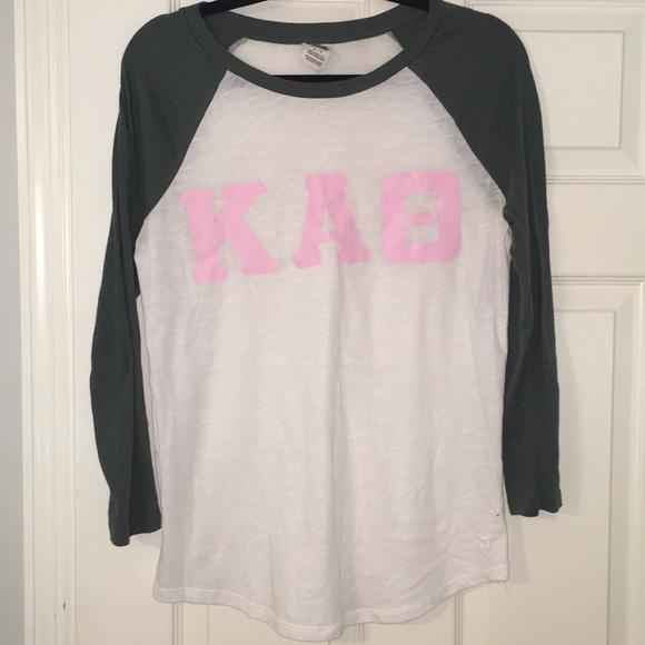 41a52fce19e4e Olive pink and white Theta Baseball T-shirt